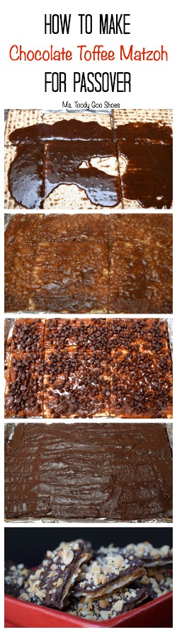 Chocolate Toffee Matzoh - A super-easy Passover dessert that everyone will kvell over! Melt brown sugar and butter, top with chocolate chips, spread chocolate to cover, and add nuts if desired. | Ms. Toody Goo Shoes