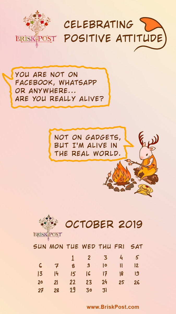 October 2019 calendar: Cute speaking deer cartoon illustration with orange-pink background and message, alike gadgets, stay alive in the real world