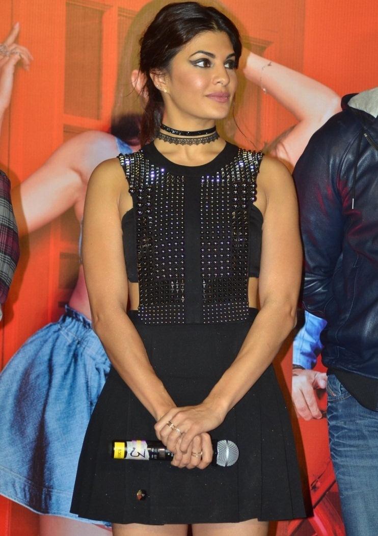 Actress Jacqueline Fernandez 2017 Stills In Black Dress