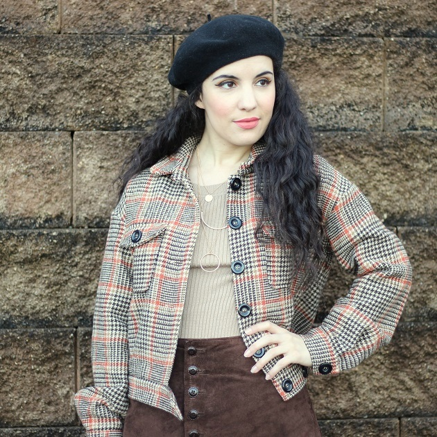 Shein Brown Plaid Jacket