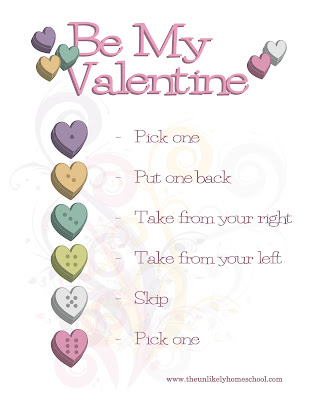 Be My Valentine Game played with Conversation Hearts and Dice-The Unlikely Homeschool