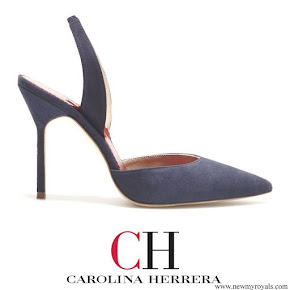 Queen Letizia wore Carolina Herrera High-heel slingback blue pumps