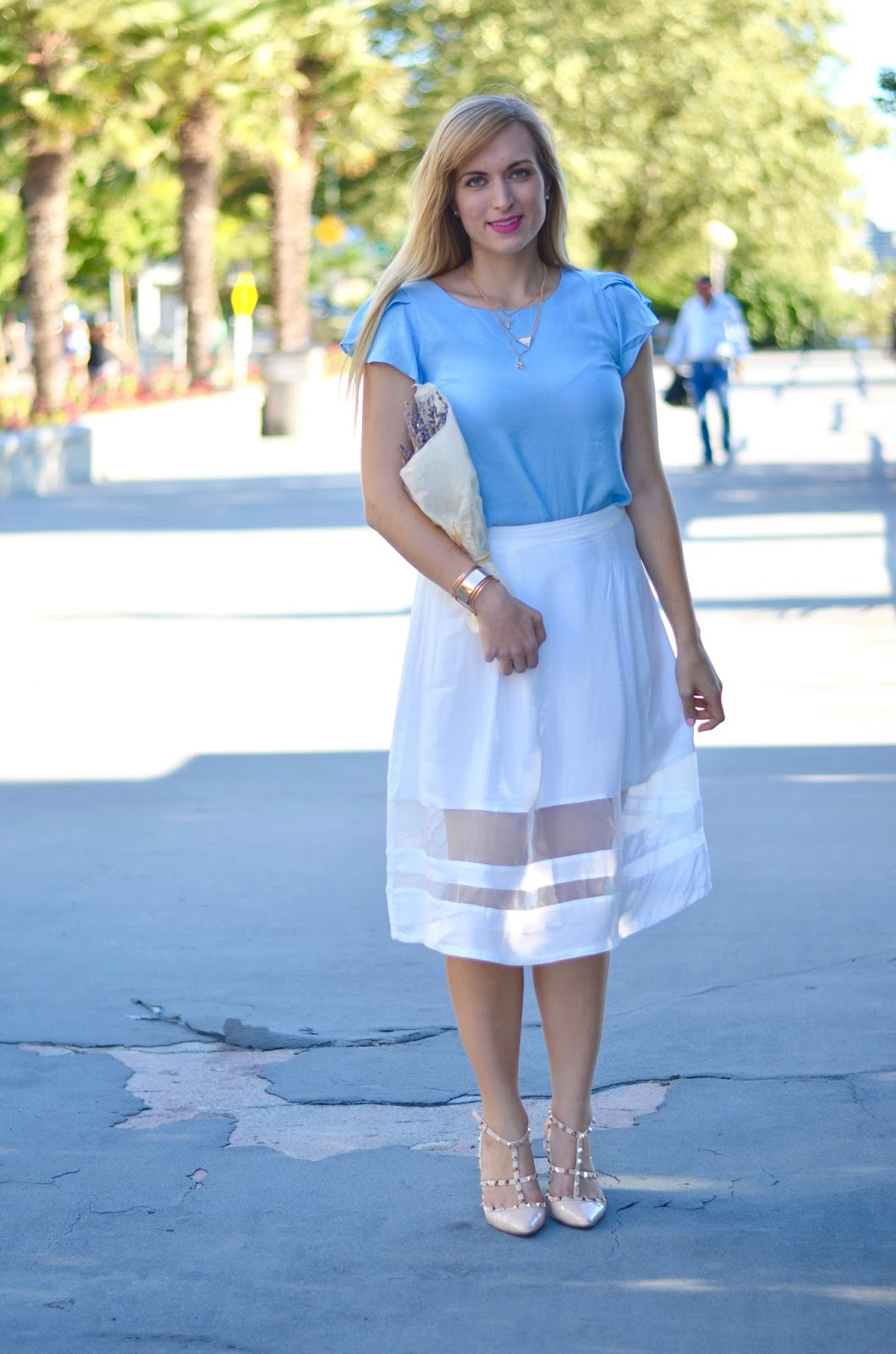 white midi skirt and blue ruffle top