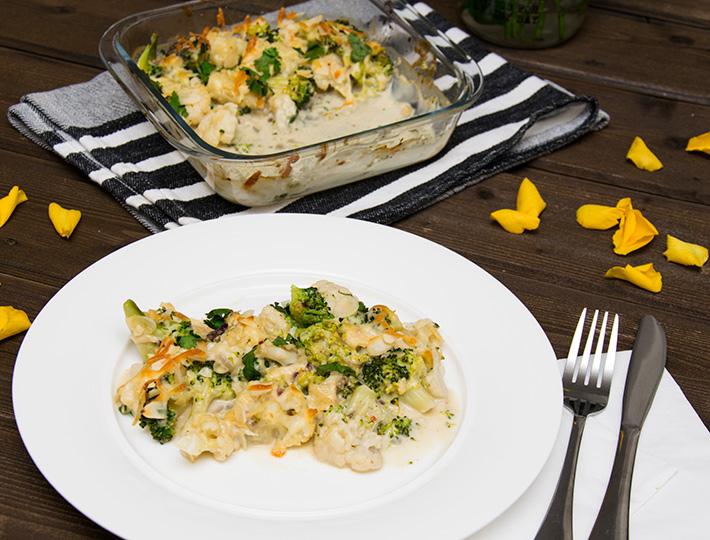 Brokkoli-Blumenkohl-Kokos-Curry-Auflauf Rezept