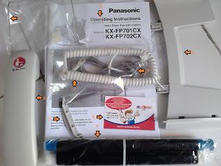 asesoris yang didapat di mesin fax panasonic KX-fp701