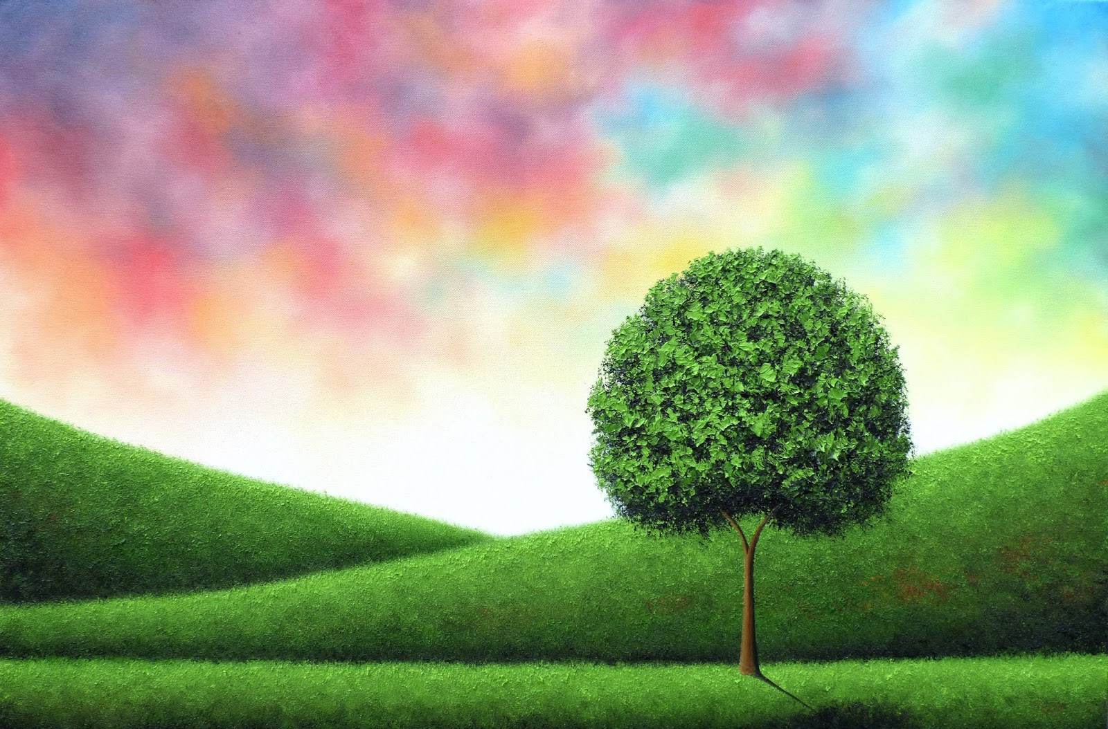 Green Tree Oil Painting, Original Painting, Colorful Landscape ...