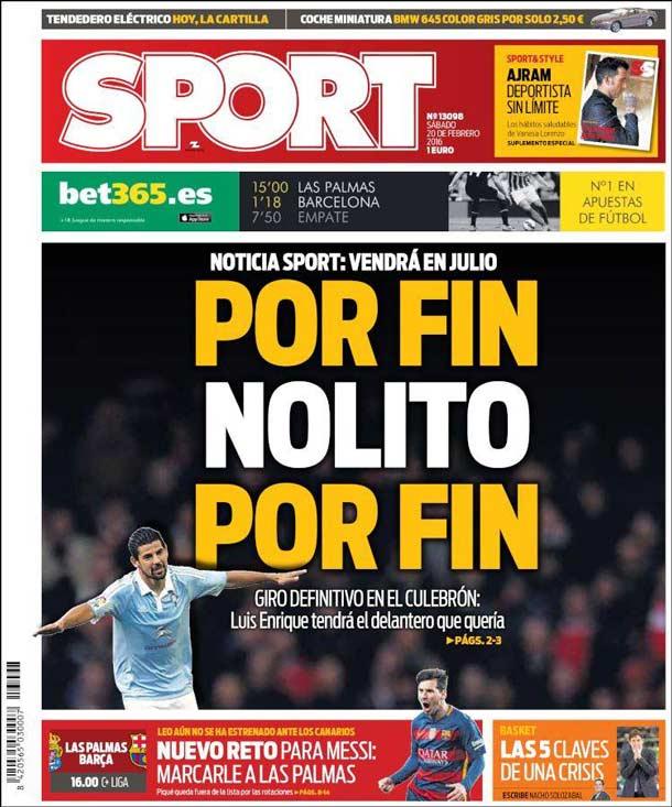 Portada del periódico Sport, sábado 20 de febrero de 2016