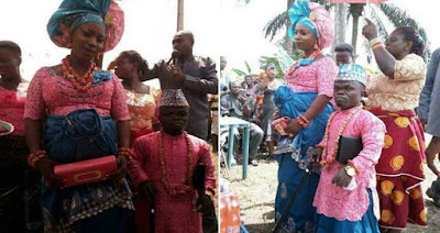 Dwarf weds his bride in Delta state. see Photos