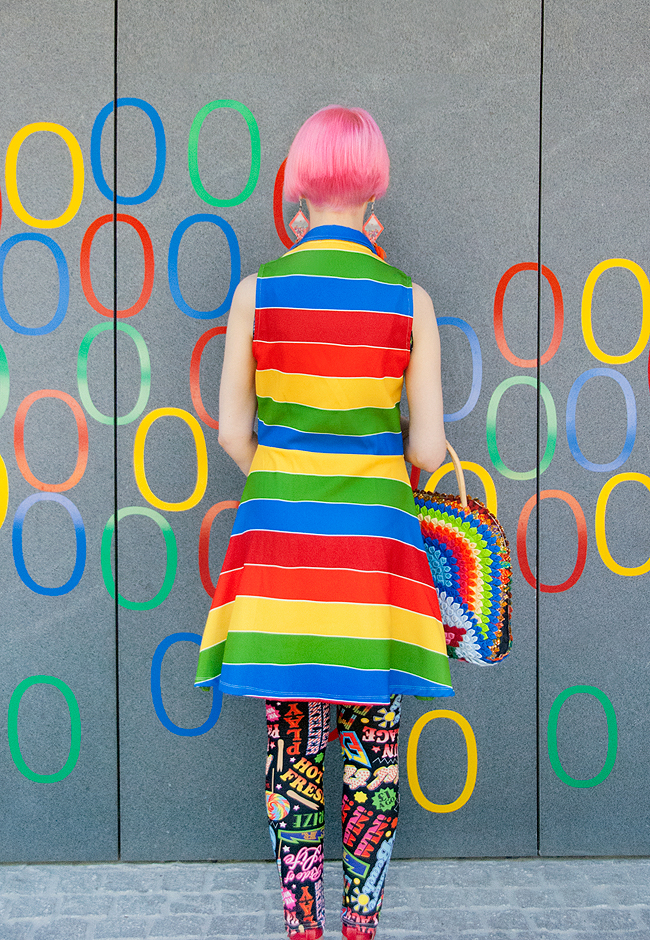 rainbow look, Agatha Ruiz de la prada, colourful fashion