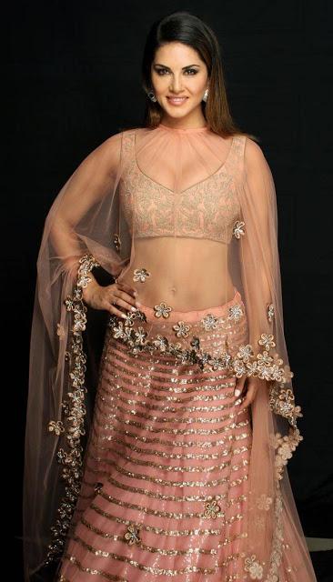 Sunny Leone Peach Nylon Net Designer Lehenga Choli