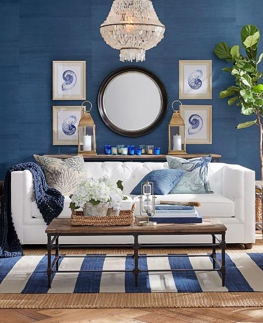 Navy Stripe Area Rug Ideas Living Room
