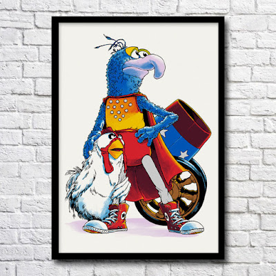 "The Muppets ""Performing Feats of Lunatic Daring"" Gonzo the Great Screen Print by Joshua Budich"