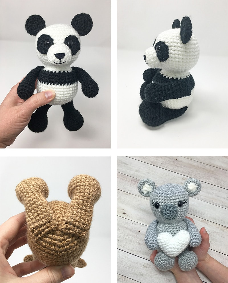 Crochet Valentine Bear, Panda and Koala Pattern - Grace and Yarn | 993x800