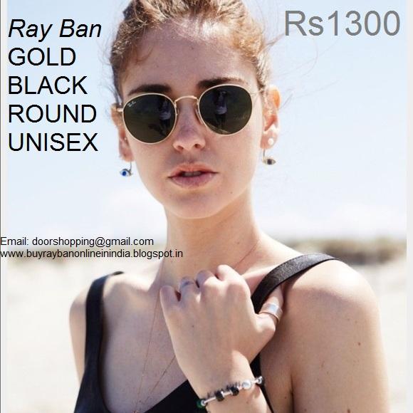 ray ban round metal gold