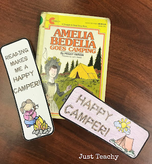 Happy Camper Bookmarks, camping theme and activities