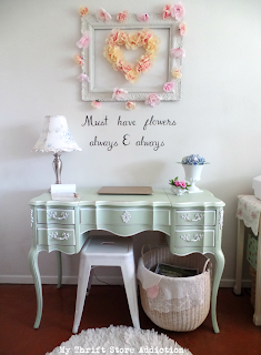 thrifty floral inspired bedroom office nook