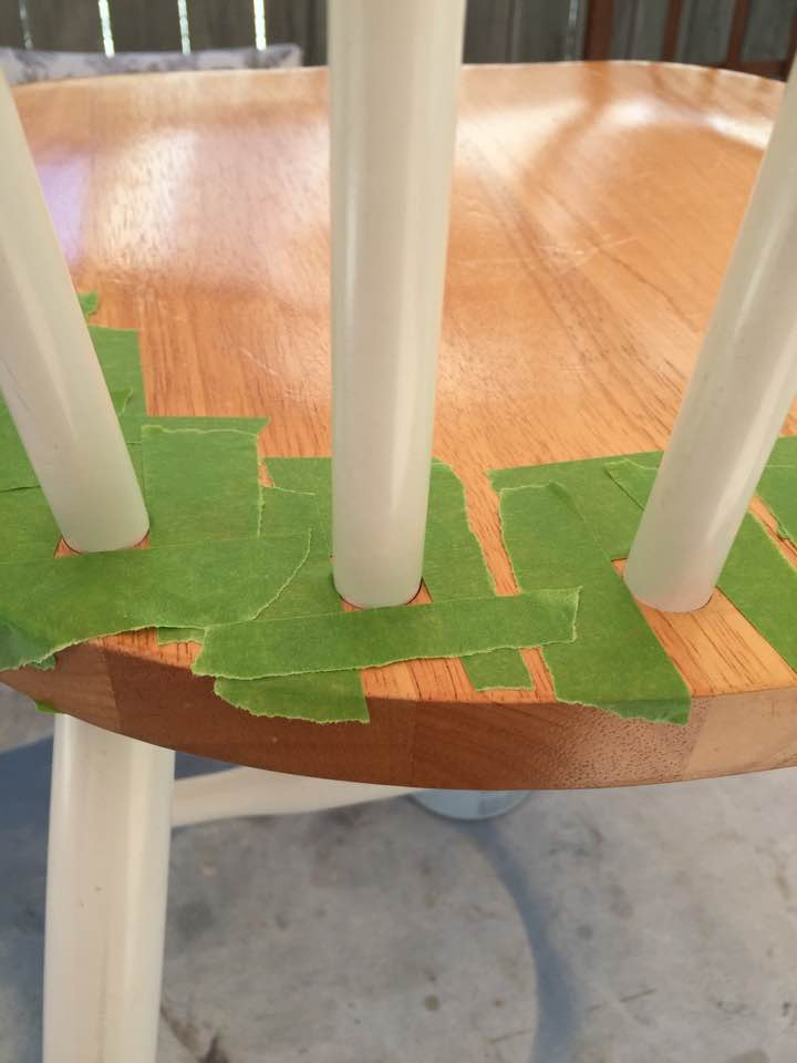 Tape off a square around the round spindles