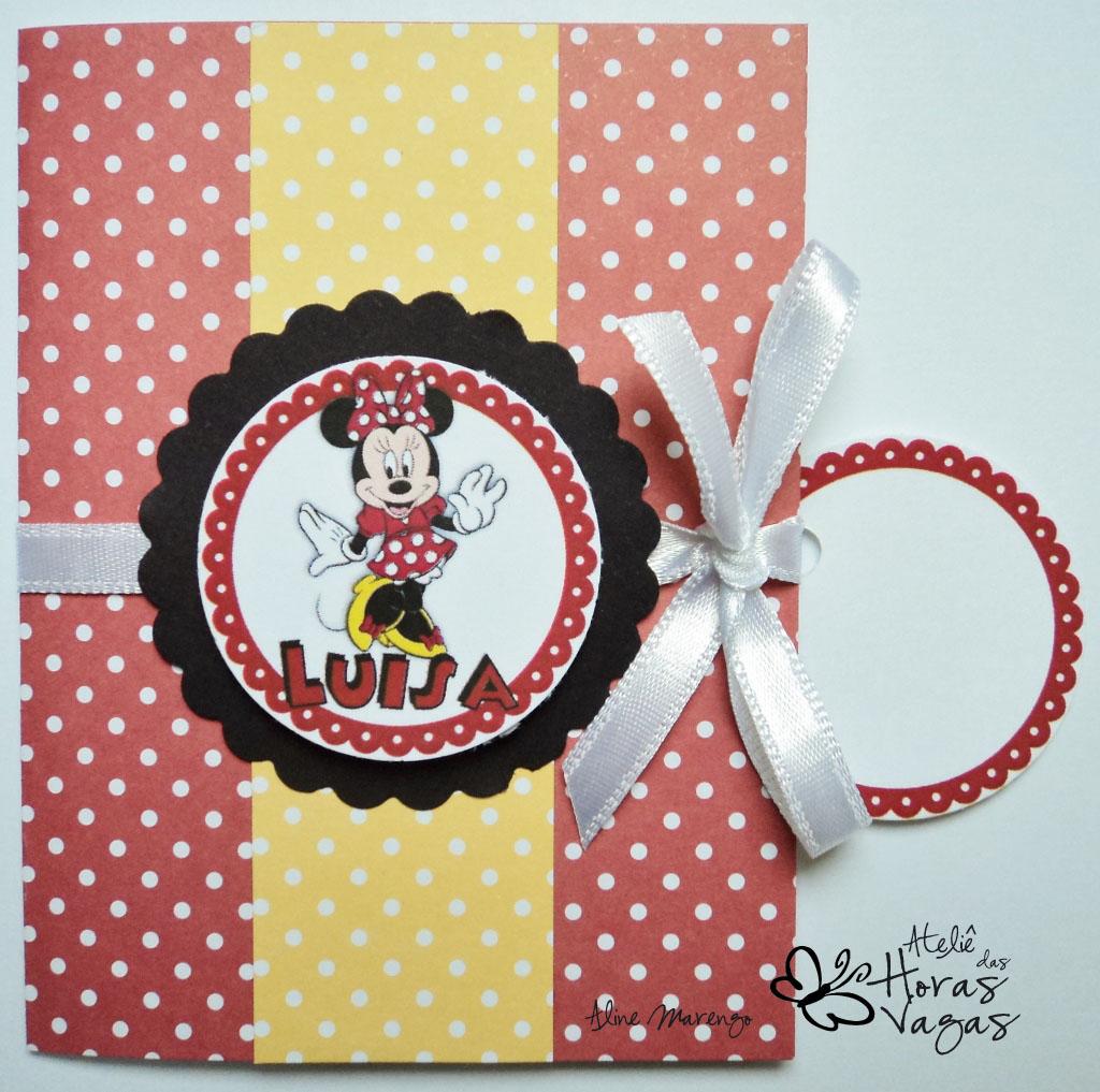 convite artesanal aniversário infantil minnie mouse poá vermelho e branco disney menina 1 aninho bebê