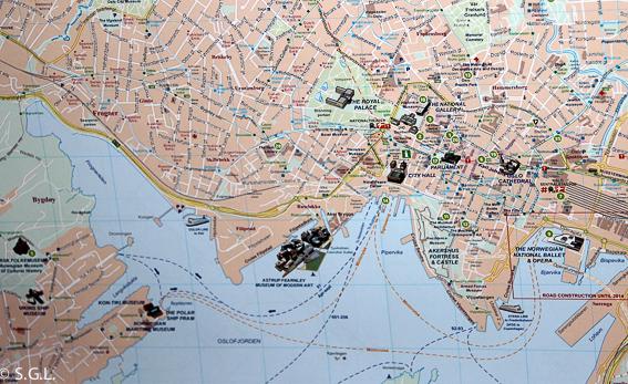 Mapa turistico de Oslo. Noruega