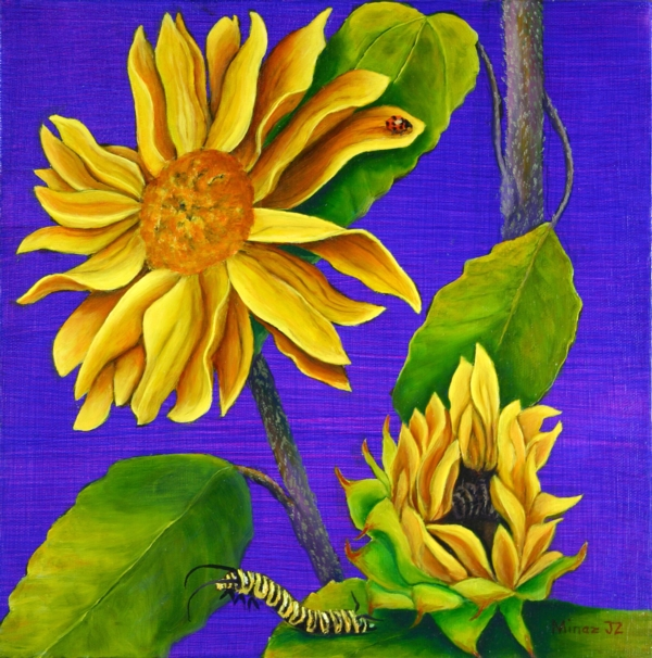 "Sunflower Diptych; Bottom  The Lady Bug & Monarch Caterpillar  by Minaz Jantz Oil on 12"" x 12"" canvas"