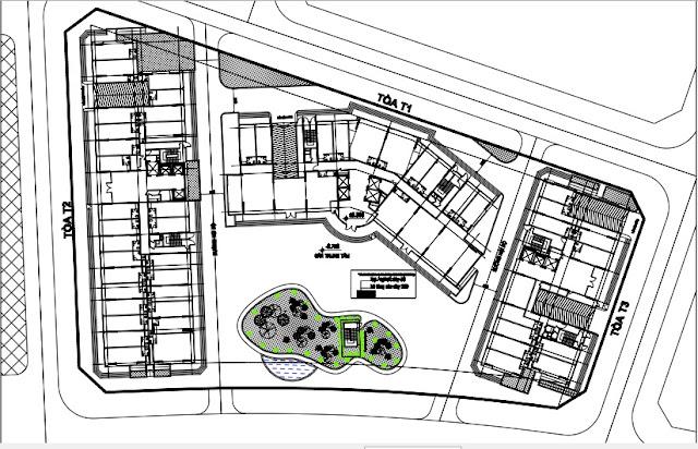 Sơ đồ mặt bằng thiết kế 3 Tòa chung cư B1.3 Thanh Hà