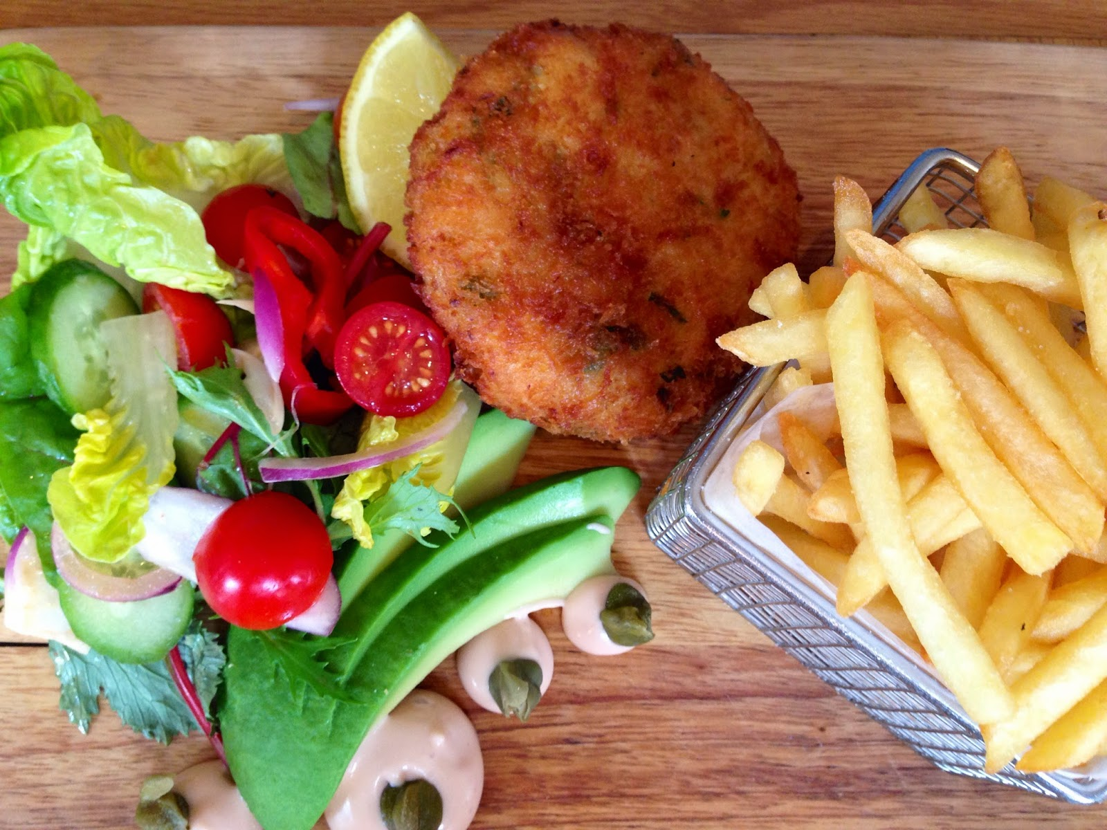 Fishcake, salad and skinny fries at the Grey Lady Kitchen and Deli
