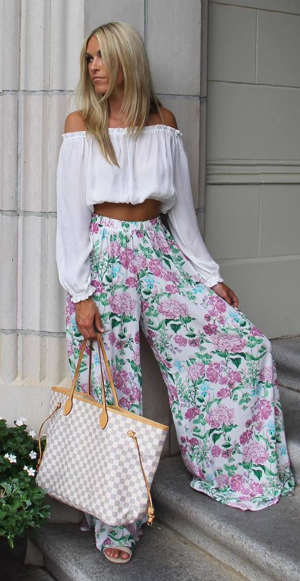 amazing summer set: off shoulder top + floral pants + bag