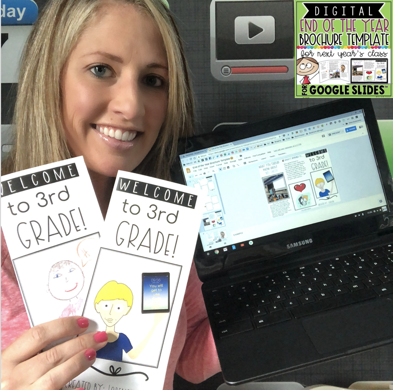 Create a brochure for next years class using this free template in Google Slides
