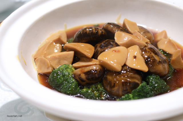 Claypot Mushrooms with Top Shell Abalone and Broccoli
