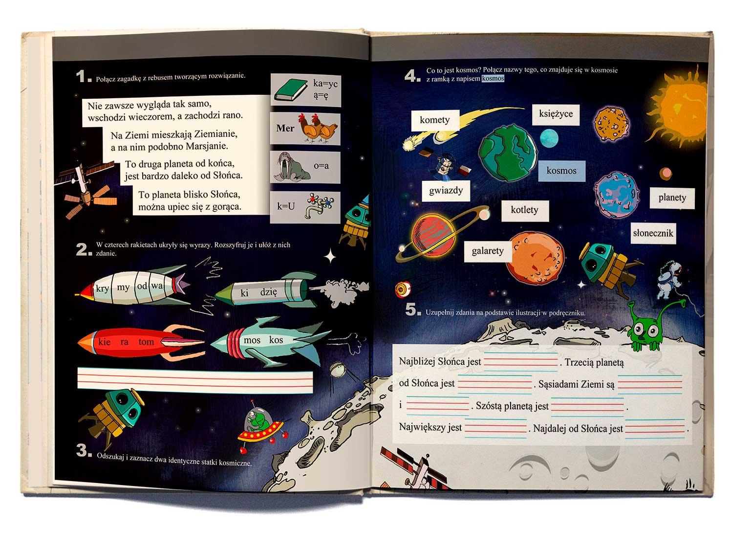 ilustracja dla dzieci do ćwiczeń kolorowanki nowa era Urbaniak ilustratorka kosmos