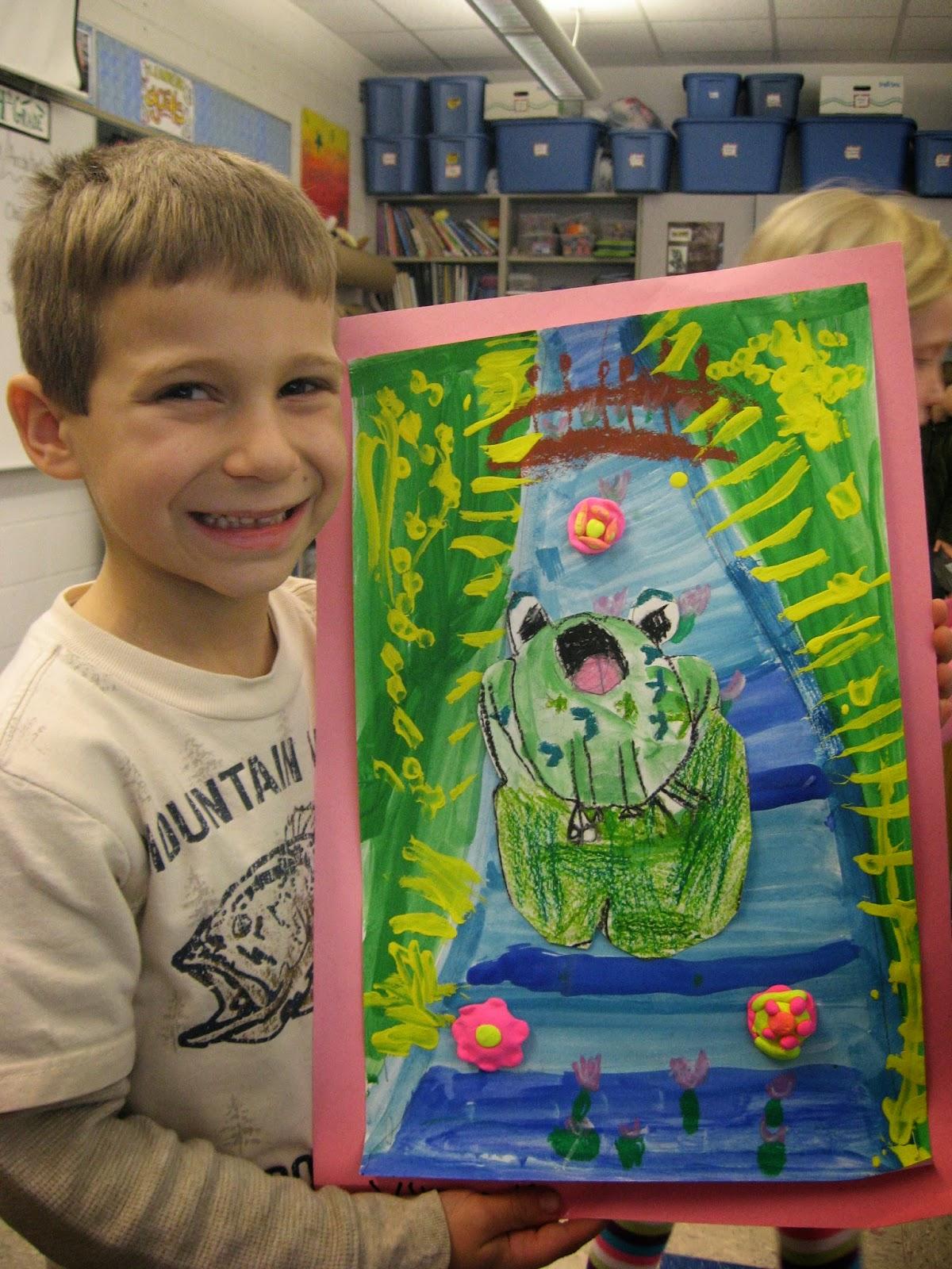 Jamestown Elementary Art Blog 1st Grade Claude Monet Frogs In Ponds