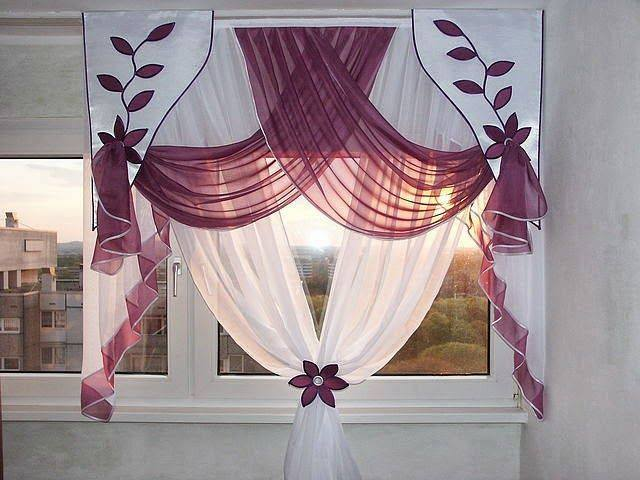 Amazing White and Purple Floral Curtain Design