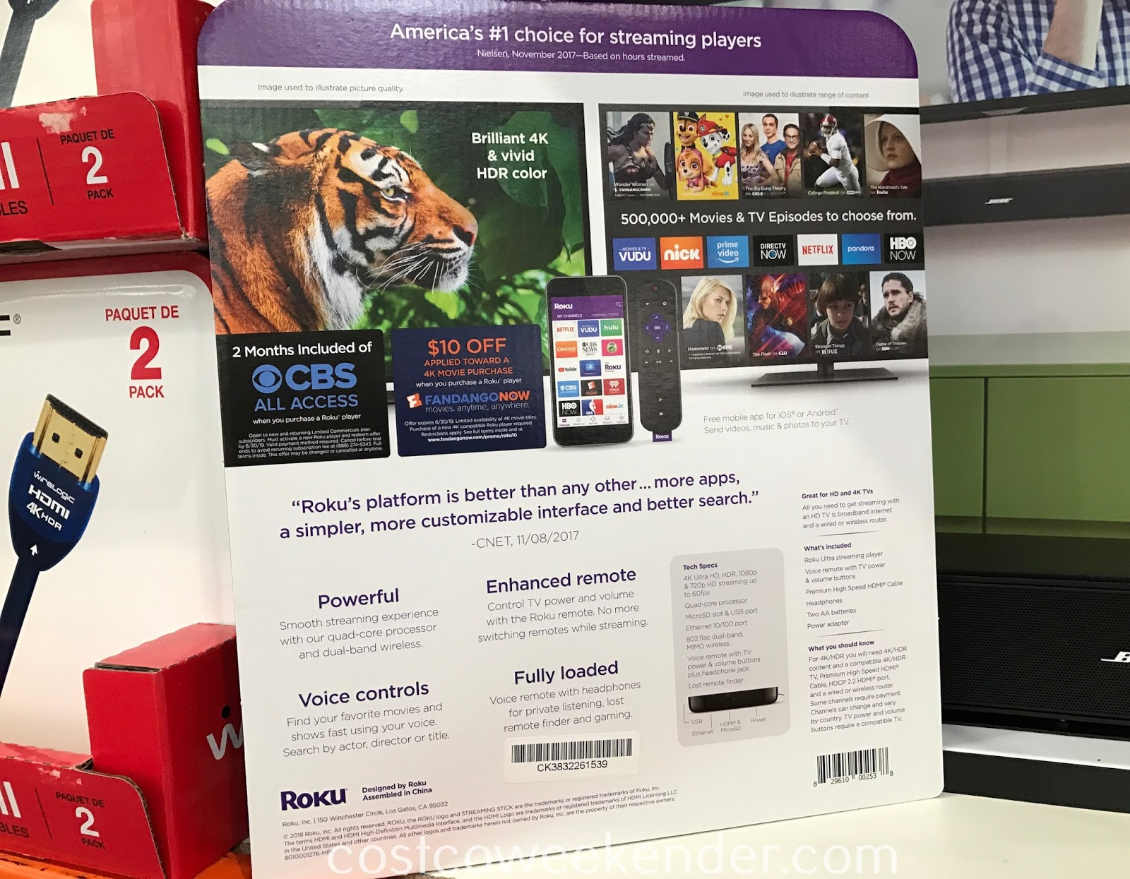 Costco 1115050 - Roku Ultra 4K Streaming Player: go ahead and cut the cord; lots of content for you to stream now