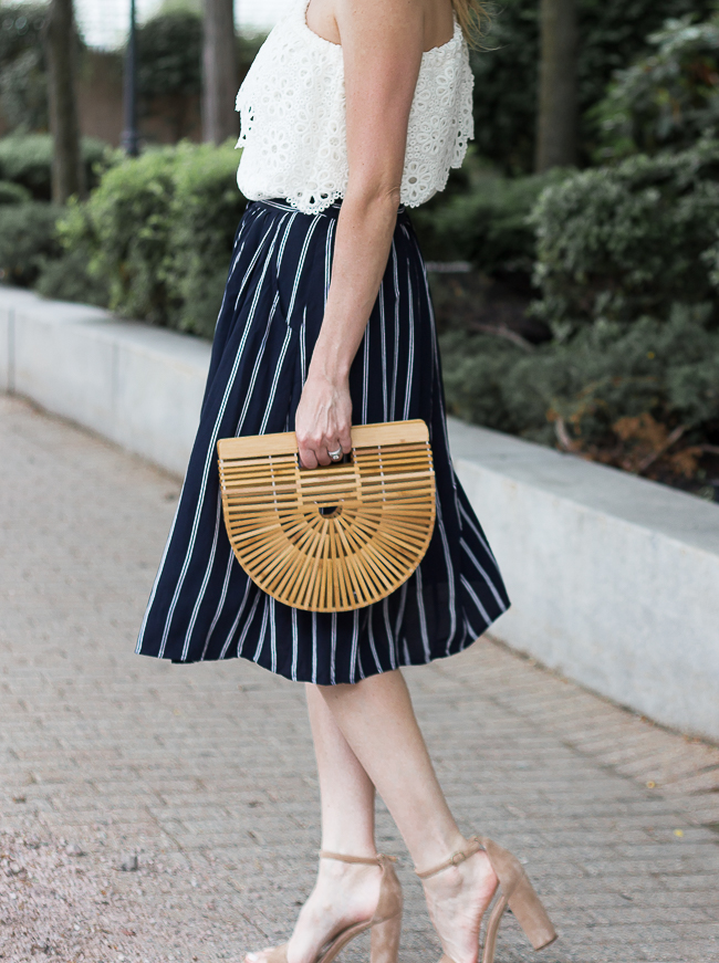 Button Front Stripe Skirt #midiskirt