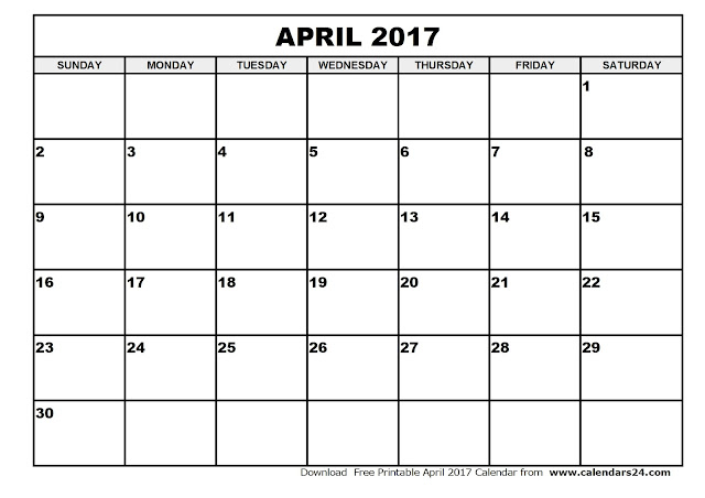 April 2017 Calendar, 2017 Calendar. Calendar 2017, Monthly Calendar 2017