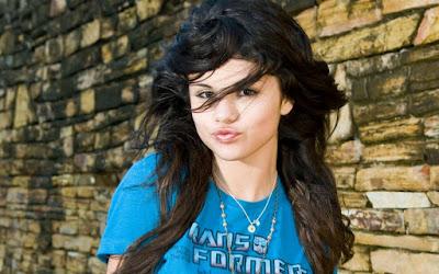 selena gomez in blue shirt widescreen resolution hd wallpaper