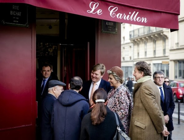 King Willem-Alexander and Queen Maxima of The Netherlands visited the Le Carillon cafe in Paris, France