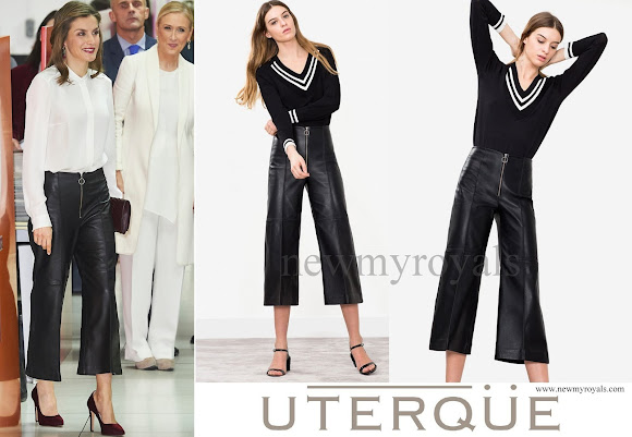 Queen Letizia wore Uterque Nappa Trousers