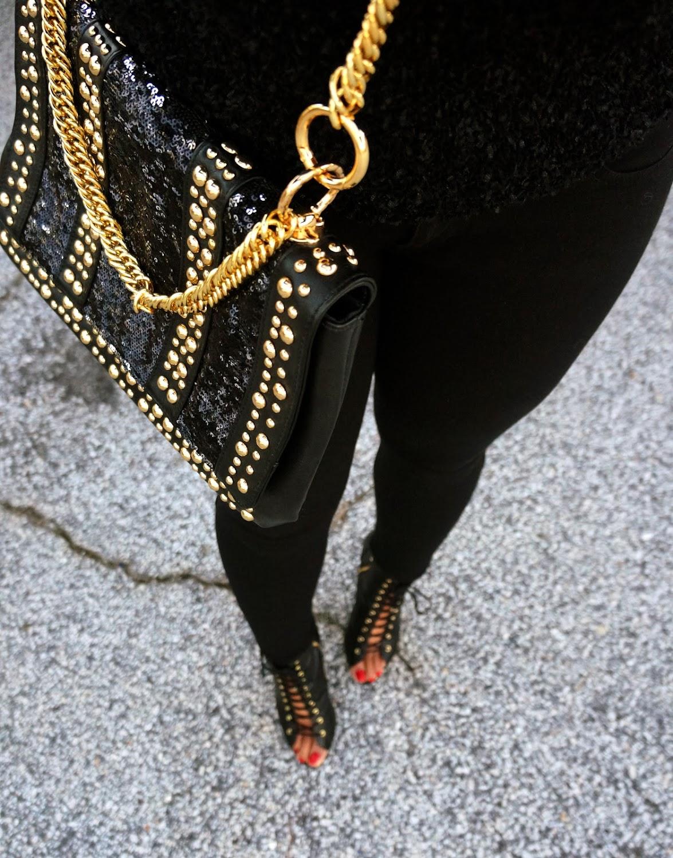 halston black gold purse