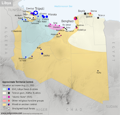 Map of control in Libya as of August 2015, including the so-called Islamic State (ISIS)