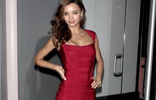 Miranda Kerr, Red Herve Leger Dress