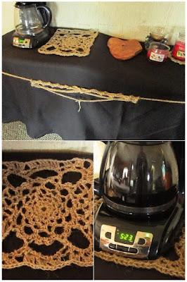 coffee, crochet, free pattern, jute, twine, doily
