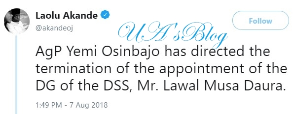 BREAKING: Acting President Osinbajo sacks DSS boss, Lawal Daura