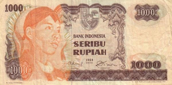 1000 rupiah 1968 depan