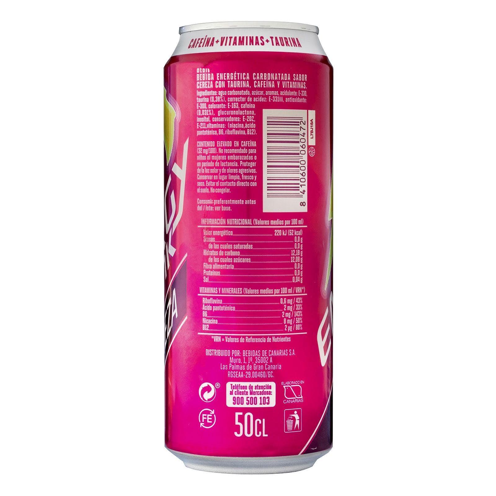 Bebida energética Energy Drink sabor cereza Hacendado