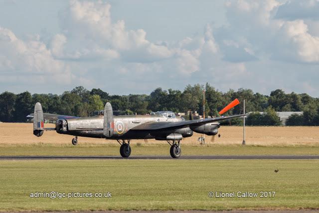 BBMF Lancaster departing Duxford test flight