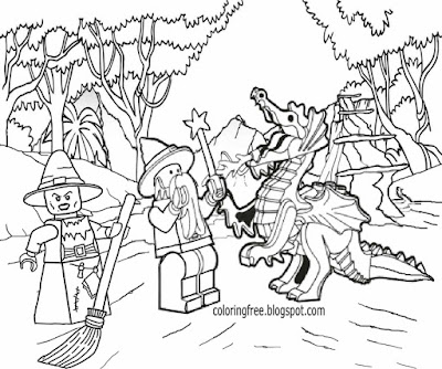 Easy fun kids fantasy drawing dark witch and magical wizard dragon Lego coloring book pages to print