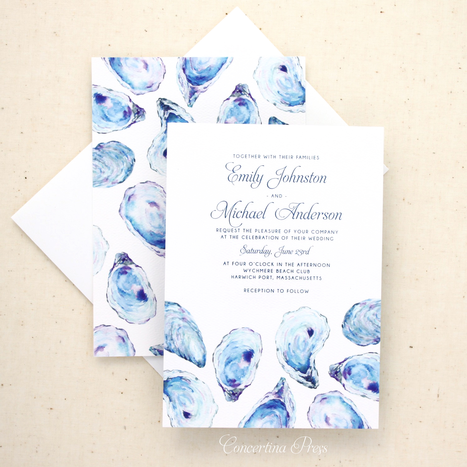 Oyster Beach Wedding Invitations from Concertina Press