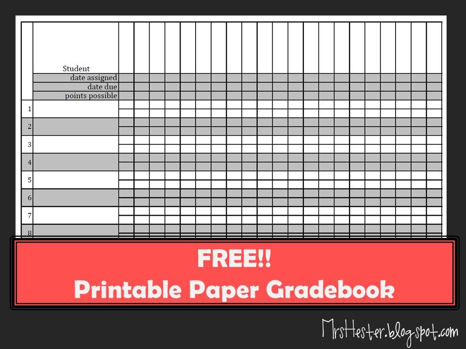 Mrs Hester\u0027s Classroom  Paper Gradebook - Gradebook Template