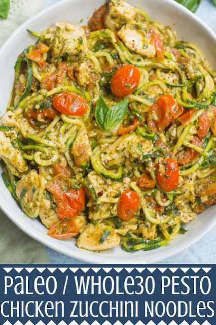 Whole30 Pesto Chicken Zucchini Noodles